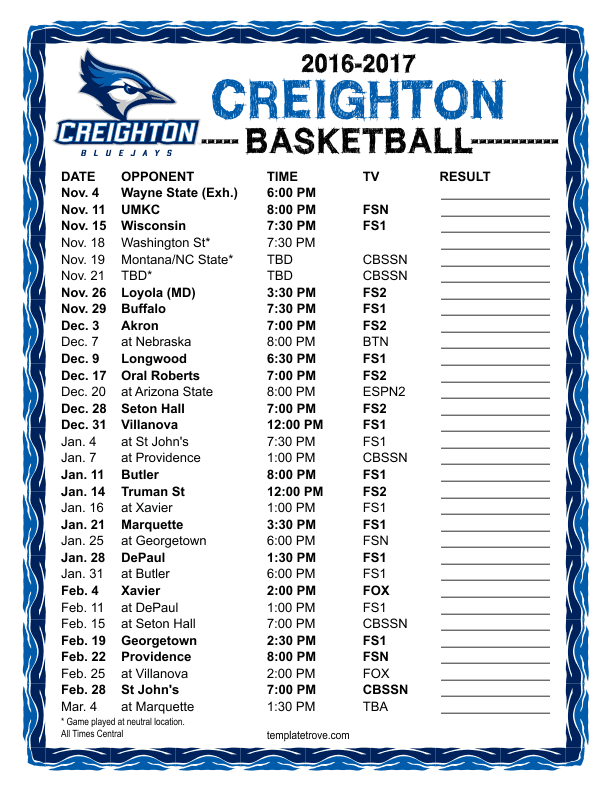 Printable 2016 2017 Creighton Bluejays Basketball Schedule