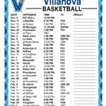 Printable 2016 2017 Villanova Wildcats Basketball Schedule