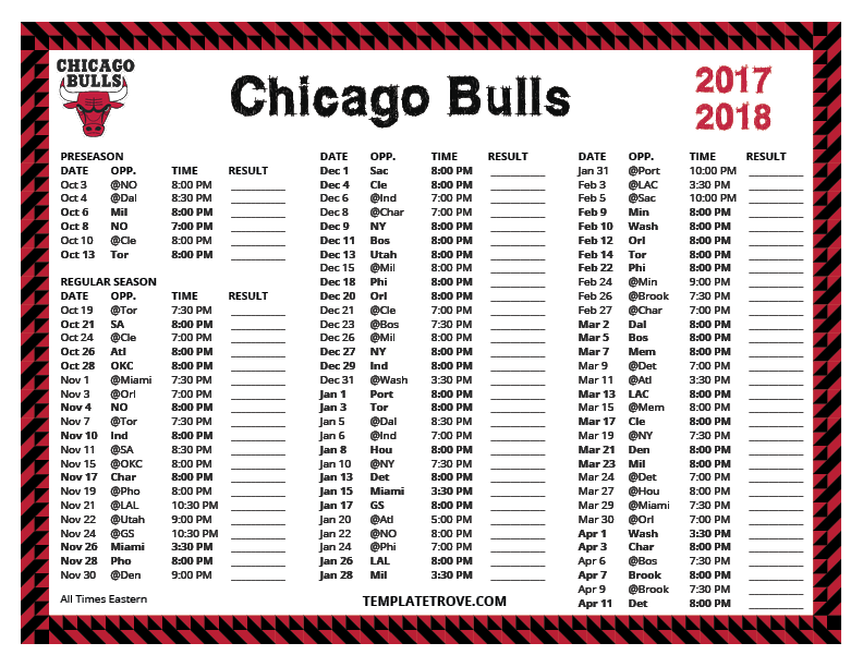 Printable 2017 2018 Chicago Bulls Schedule