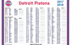Printable 2017 2018 Detroit Pistons Schedule