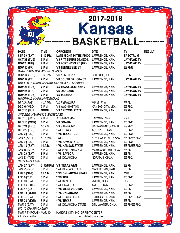 Printable 2017 2018 Kansas Jayhawks Basketball Schedule