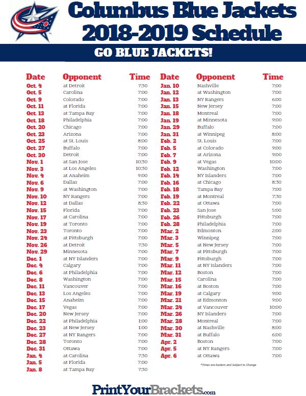 Printable 2018 2019 Columbus Blue Jackets Hockey Schedule