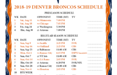 Printable 2018 2019 Denver Broncos Schedule