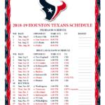 Printable 2018 2019 Houston Texans Schedule