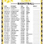 Printable 2018 2019 Iowa Hawkeyes Basketball Schedule