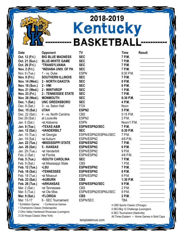 Printable 2018 2019 Kentucky Wildcats Basketball Schedule