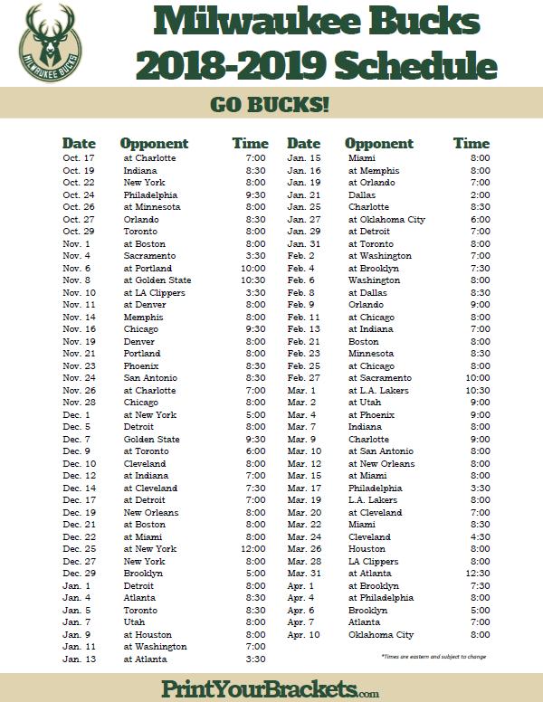 Printable 2018 2019 Milwaukee Bucks Schedule Milwaukee
