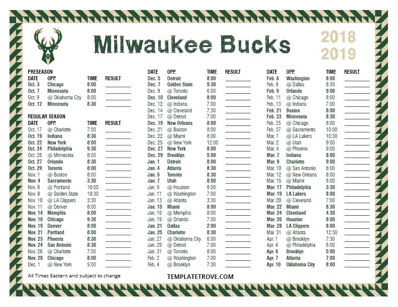 Printable 2018 2019 Milwaukee Bucks Schedule
