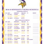 Printable 2018 2019 Minnesota Vikings Schedule