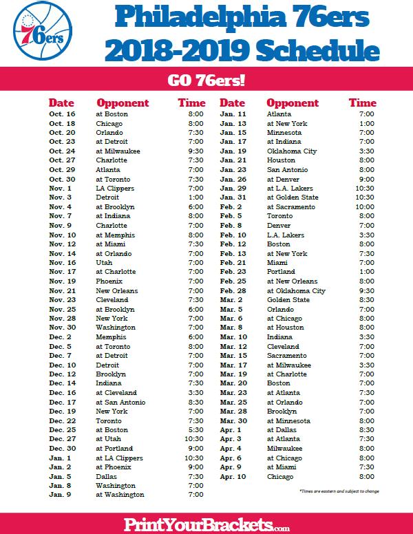 Printable 2018 2019 Philadelphia 76ers Schedule