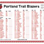 Printable 2018 2019 Portland Trail Blazers Schedule