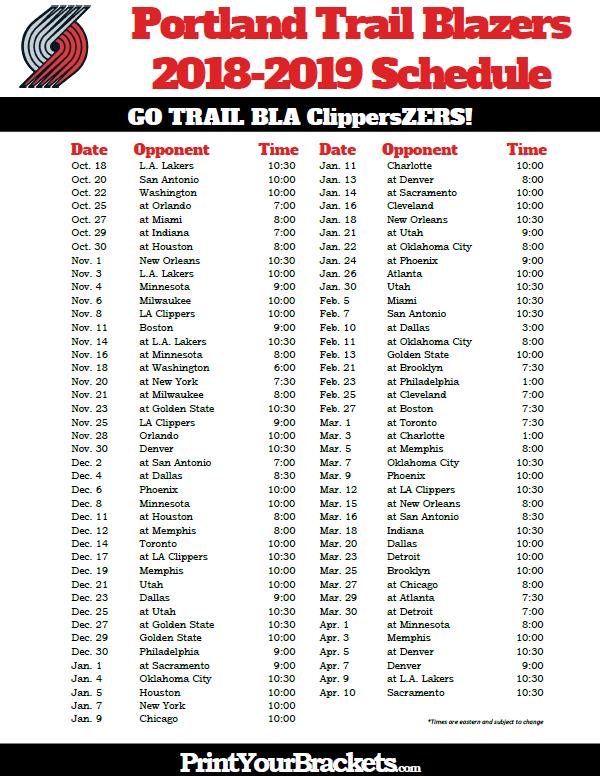 Printable 2018 2019 Portland Trail Blazers Schedule Nba