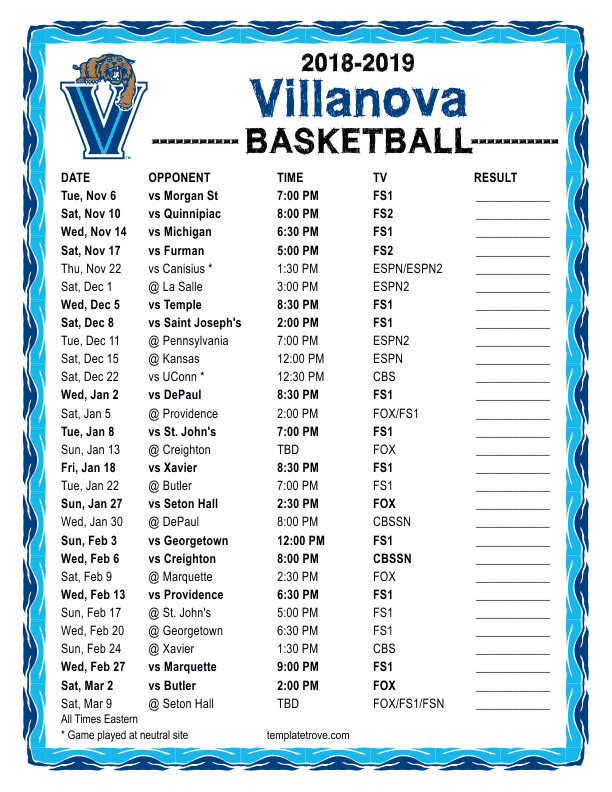 Printable 2018 2019 Villanova Wildcats Basketball Schedule