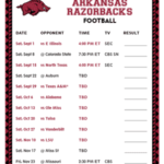 Printable 2018 Arkansas Razorbacks Football Schedule