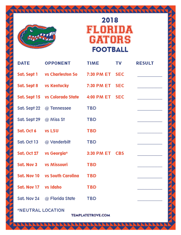 Printable 2018 Florida Gators Football Schedule
