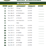 Printable 2018 Green Bay Packers Football Schedule