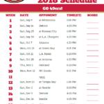 Printable 2018 San Francisco 49ers Football Schedule