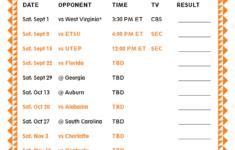 Printable 2018 Tennessee Volunteers Football Schedule