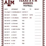 Printable 2018 Texas A M Aggies Football Schedule