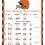Printable 2019 2020 Cleveland Browns Schedule