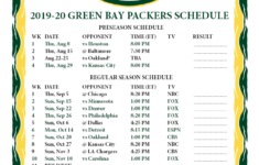 Printable 2019 2020 Green Bay Packers Schedule