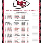 Printable 2019 2020 Kansas City Chiefs Schedule