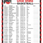 Printable 2019 2020 Ohio State Buckeyes Basketball Schedule
