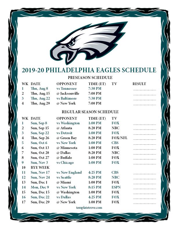 Printable 2019 2020 Philadelphia Eagles Schedule