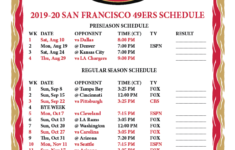 Printable 2019 2020 San Francisco 49ers Schedule