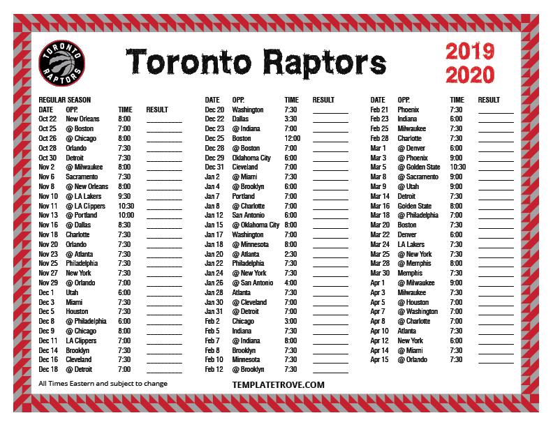 Printable 2019 2020 Toronto Raptors Schedule