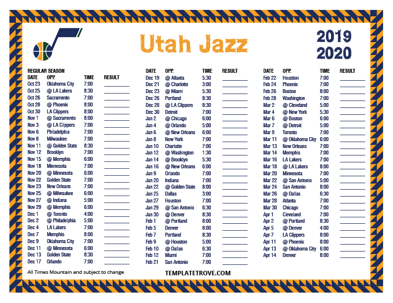 Printable 2019 2020 Utah Jazz Schedule