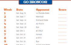 Printable 2019 Boise State Broncos Football Schedule