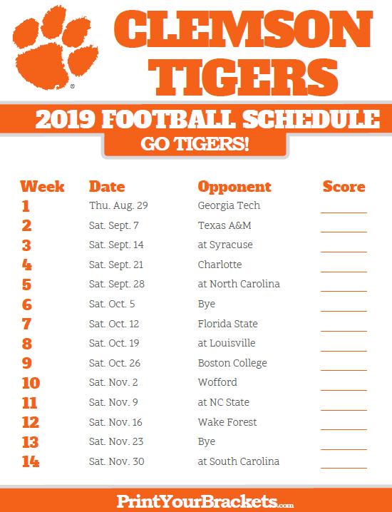 Printable 2019 Clemson Tigers Football Schedule Clemson