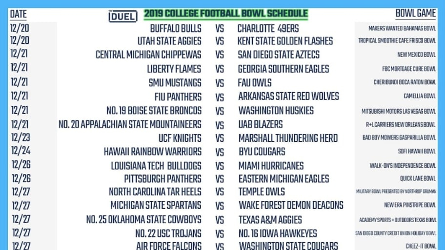Printable 2019 College Football Bowl Schedule