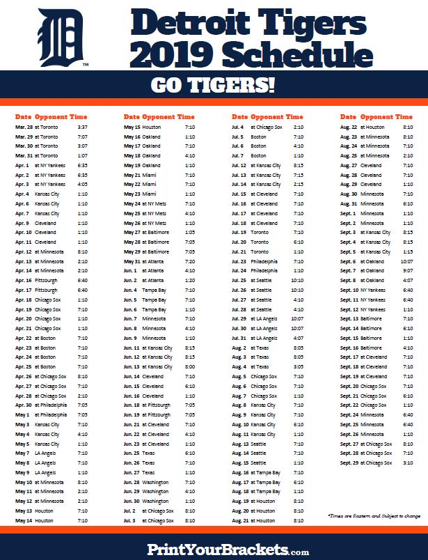 Printable 2019 Detroit Tigers Schedule Detroit Tigers
