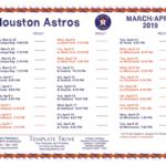 Printable 2019 Houston Astros Schedule
