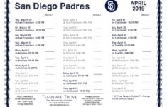 San Diego Padres Schedule Printable