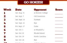 Printable 2019 Virginia Tech Hokies Football Schedule