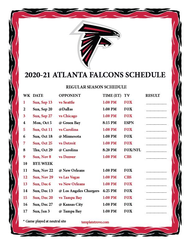 Printable 2020 2021 Atlanta Falcons Schedule