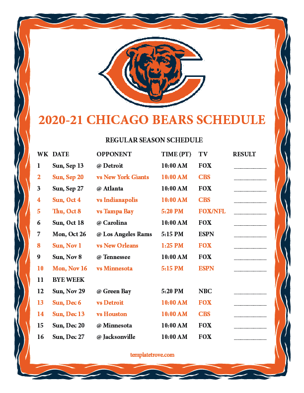 Printable 2020 2021 Chicago Bears Schedule
