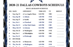 Dallas Cowboys Printable Schedule 2021