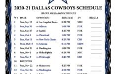 Dallas Cowboys Schedule Printable 2021