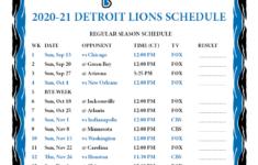 Printable 2020 2021 Detroit Lions Schedule