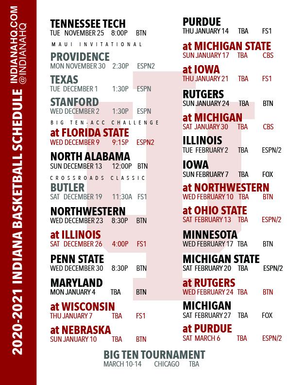 PRINTABLE 2020 2021 Indiana Basketball Schedule PDF