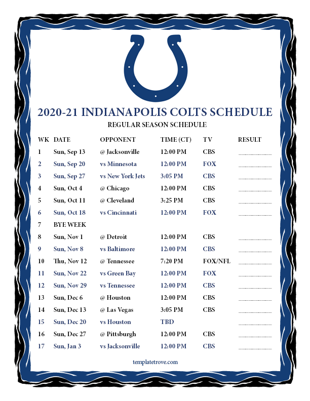 Printable 2020 2021 Indianapolis Colts Schedule