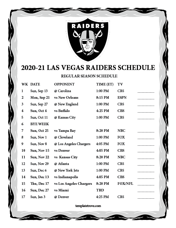 Printable 2020 2021 Las Vegas Raiders Schedule