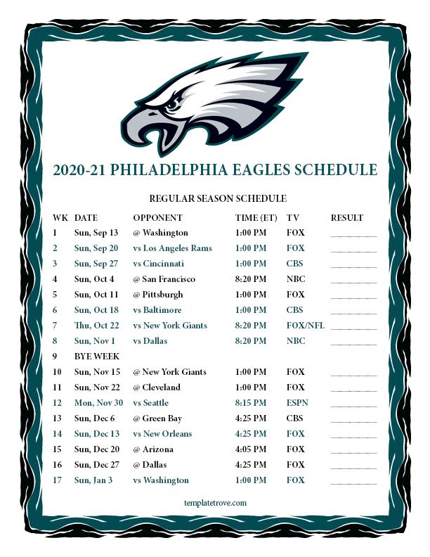 Printable 2020 2021 Philadelphia Eagles Schedule