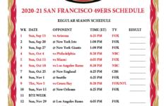 Printable 2020 2021 San Francisco 49ers Schedule
