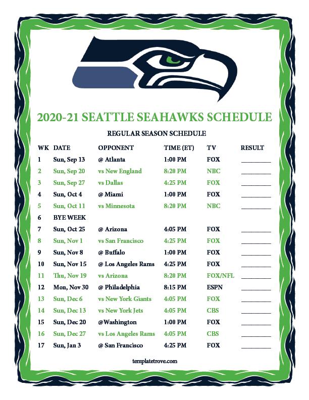 Printable 2020 2021 Seattle Seahawks Schedule
