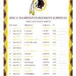 Printable 2020 2021 Washington Redskins Schedule